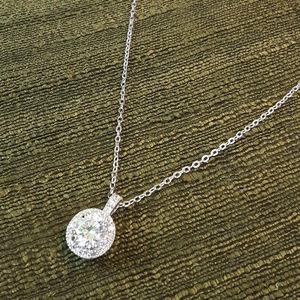 NEW Rhodium Plated Solitare Designer Necklace